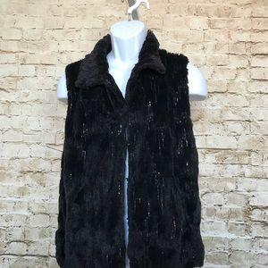 Betsey Johnson Sz L Black Faux Fur Sequin Vest
